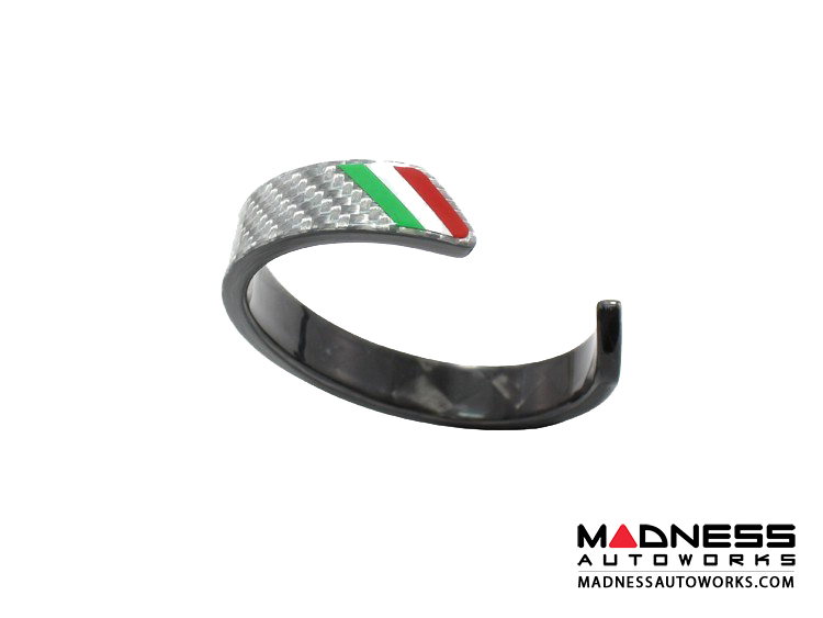 Carbon Fiber Bracelet - Italian Flag Racing Stripe Design - Silver Carbon