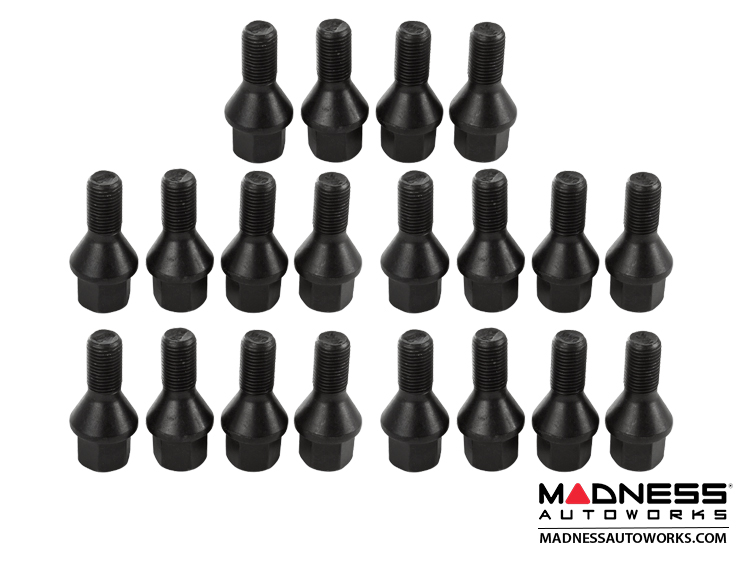 Jeep Renegade Lug Bolt Set - Farad - Set of 20 - M12x1.25 - 60° Cone Seat - Black