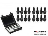 Jeep Renegade Lug Bolt + Lock Set by Farad - Set of 20 - M12x1.25 - 60° Cone Seat - Black