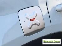 Jeep Renegade Fuel Door Cover - Silver & Red