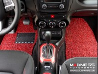 Jeep Renegade All Weather Floor Mats + Cargo Mat - Custom Rubber Woven Carpet - Red + Black