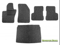 Jeep Renegade All Weather Floor Mats + Cargo Mat - Custom Rubber Woven Carpet - Black + Grey