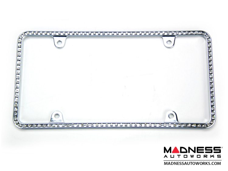 License Plate Frame - Chrome w/ Clear White Crystals