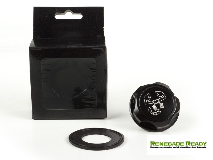 Jeep Renegade Oil Cap - 1.4L Turbo - Scorpion Logo - Black Anodized Billet