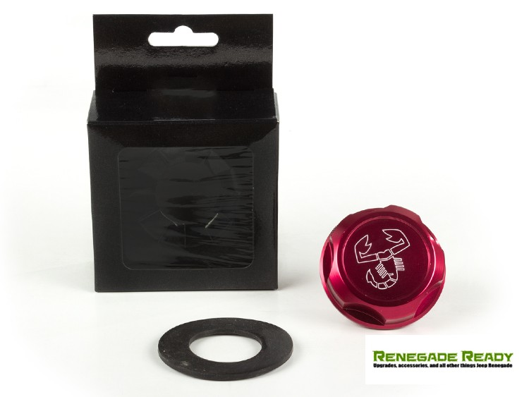 Jeep Renegade Oil Cap - 1.4L Turbo - Scorpion Logo - Red Anodized Billet