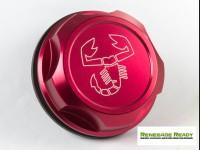 Jeep Renegade Oil Cap - 1.4L Turbo - Scorpion Logo - Red Anodized Billet