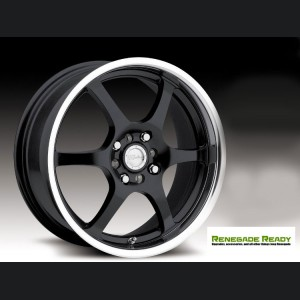 "Jeep Renegade Custom Wheels - Raceline - 126 - 16""x7"" - Black w/ Mirror Lip"