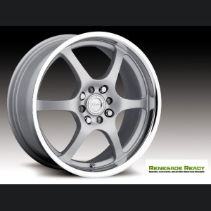 "Jeep Renegade Custom Wheels - Raceline - 126 - 17""x7.5"" - Silver w/ Mirror Lip"