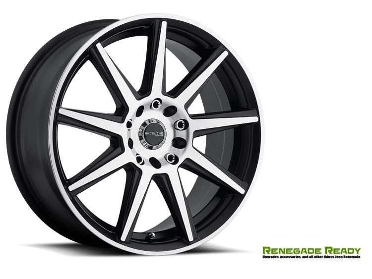 "Jeep Renegade Custom Wheels - Raceline - 144M - 16""x7"" - Storm Black w/ Machined Face"
