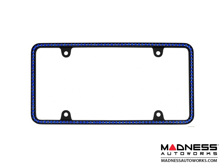 License Plate Frame - Black Frame w/ Blue Crystals