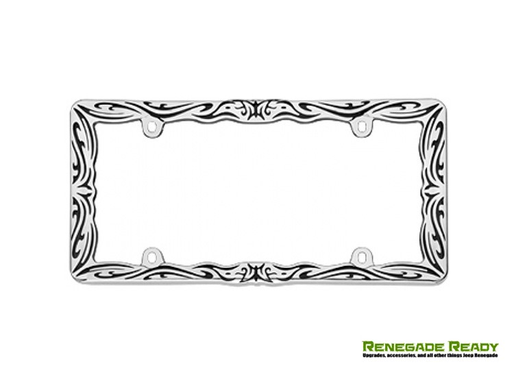 License Plate Frame - Chrome w/ Tribal Design
