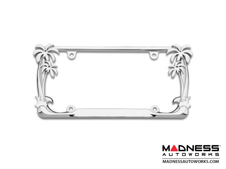 License Plate Frame - Chrome w/ Palm Trees
