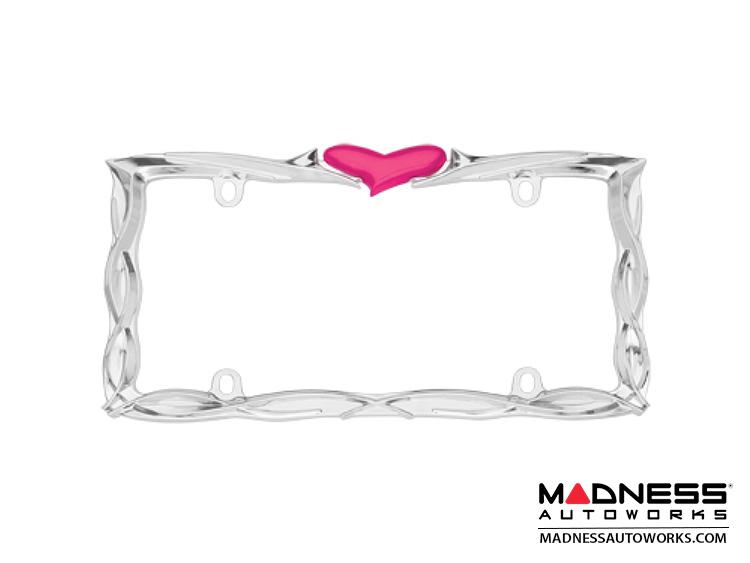 License Plate Frame - Chrome w/ Pink Heart